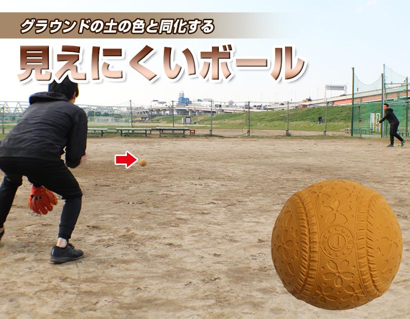 グラウンドで見にくいブラウンボール