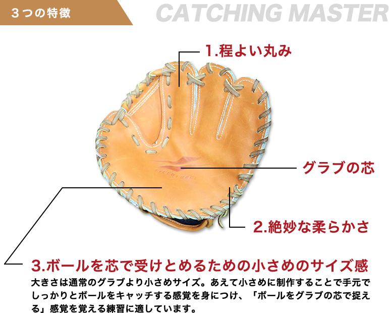 3つの特徴 CHATCHING MASTER 1.程よい丸み 2.絶妙な柔らかさ 3.ボールを芯で受けとめるための小さめのサイズ感 大きさは通常のグラブより小さめサイズ。あえて小さめに制作することで手元でしっかりとボールをキャッチする感覚を身につけ、「ボールをグラブの芯で捉える」感覚を覚える練習に適しています。 グラブの芯